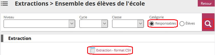 Extraction - format CSV