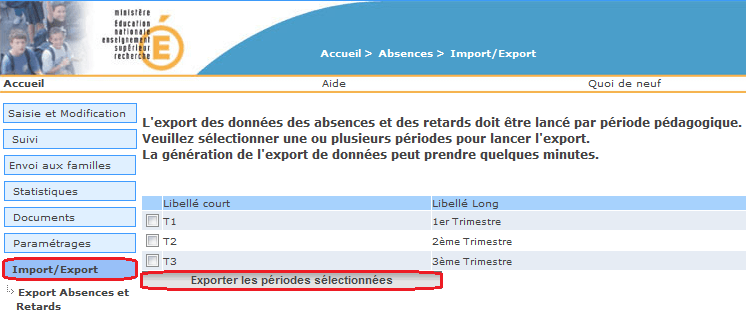 Import / Export - Export Absences et Retards